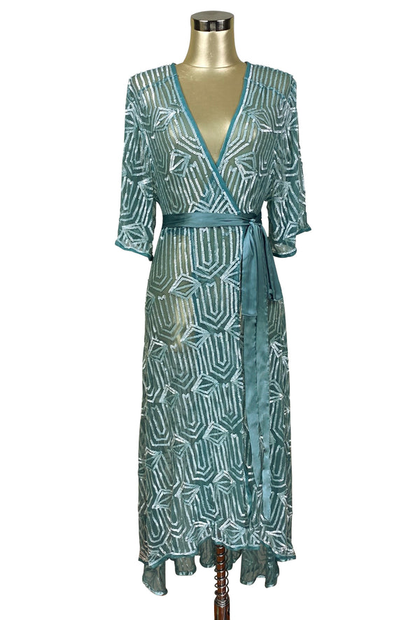 The Femme Fatale 1920s Glamour Vintage Wrap Dress - Antique Marine Bleu