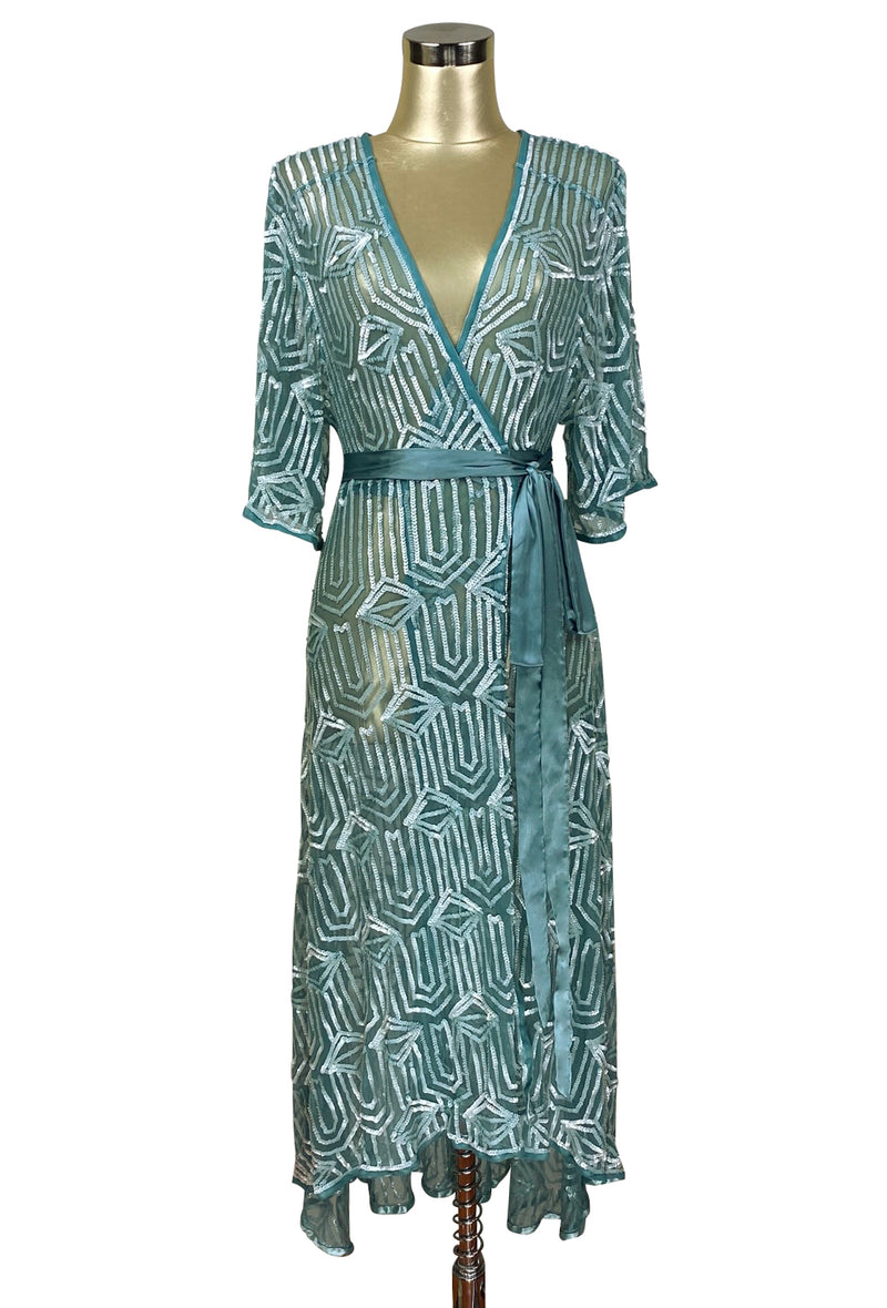 The Femme Fatale 1920s Glamour Vintage Wrap Dress - Antique Marine Bleu - The Deco Haus