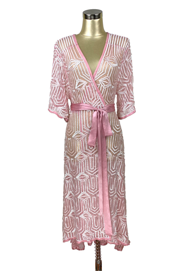 The Femme Fatale 1920s Glamour Vintage Wrap Dress - Vintage Pink Pearl - The Deco Haus