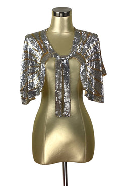 The Hollywood Babylon Luxe Sequin Tie Vintage 1930's Capelet - The Deco Haus