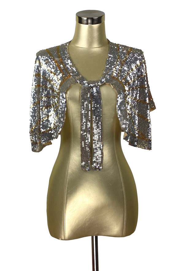The Hollywood Babylon Luxe Sequin Tie Vintage 1930's Capelet