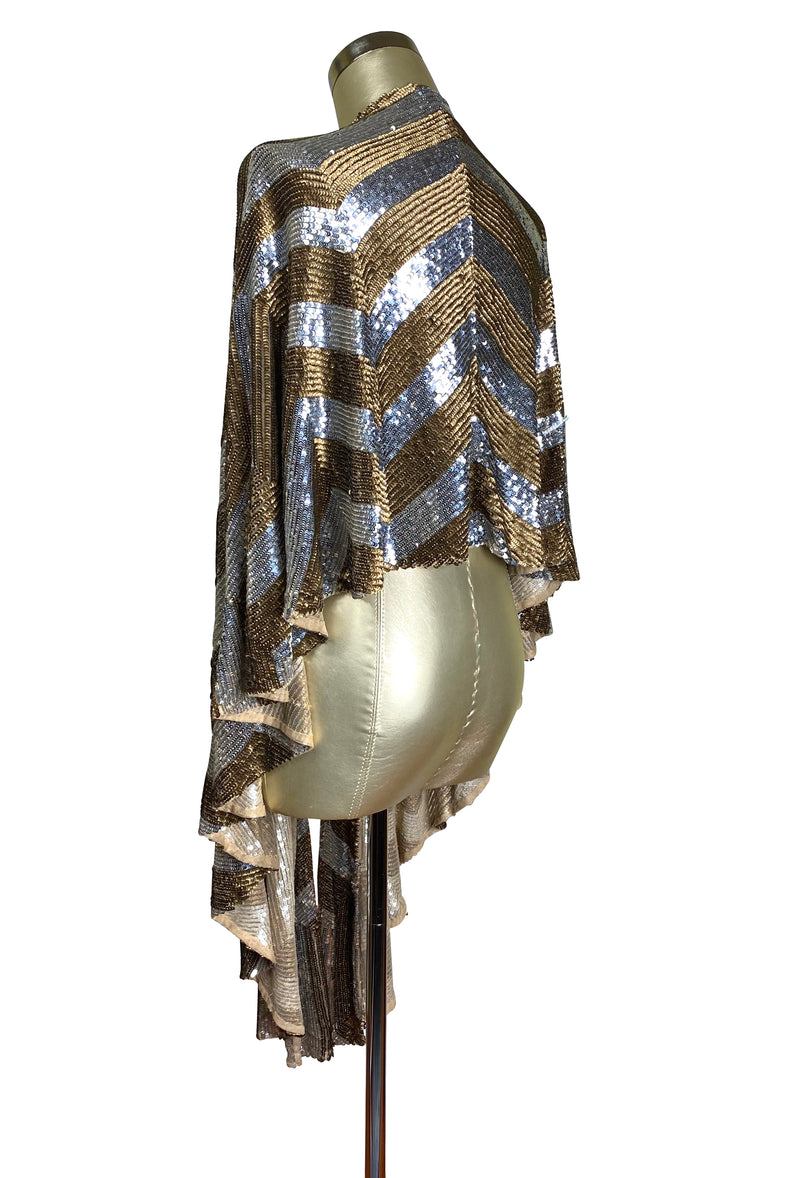 The Hollywood Chevron Luxe Sequin Vintage 1930's Evening Wrap