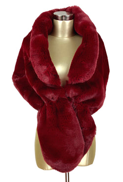 The Marilyn Luxury Vintage Faux Fur Collar Shrug Wrap - Blood Red - The Deco Haus