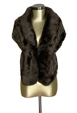 The Marilyn Luxury Vintage Faux Fur Collar Shrug Wrap - Mocha Brown