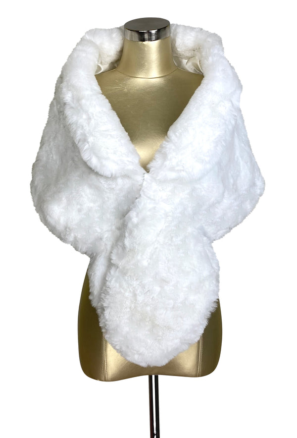 The Marilyn Luxury Vintage Faux Fur Collar Shrug Wrap - White