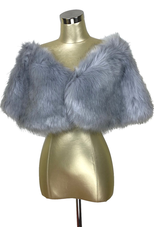 The Marilyn Luxury Vintage Faux Fur Shrug Wrap - Pewter Grey - The Deco Haus