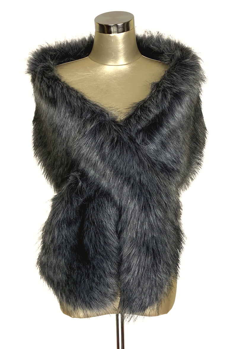The Marilyn Luxury Vintage Faux Fur Shrug Wrap - Sterling Grey
