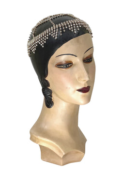 The Moulin Flapper Fringe 20's Party Cap - Gold Diamante - The Deco Haus