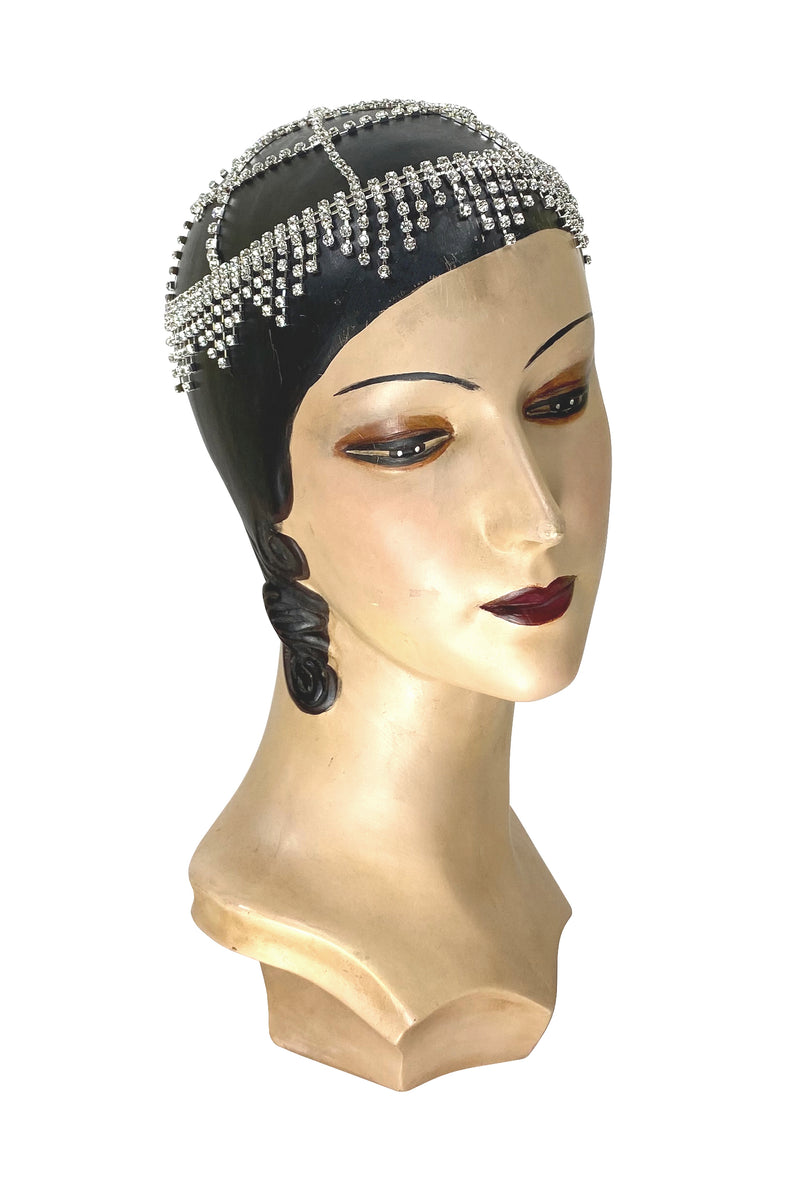 The Moulin Flapper Fringe 20's Party Cap - Silver Diamante - The Deco Haus