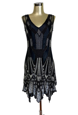 1920s Evening Dresses & Formal Gowns THE PARIS 1920S HANDKERCHIEF ART DECO GOWN - BLACK SILVER - SPECIAL EDITION $529.95 AT vintagedancer.com