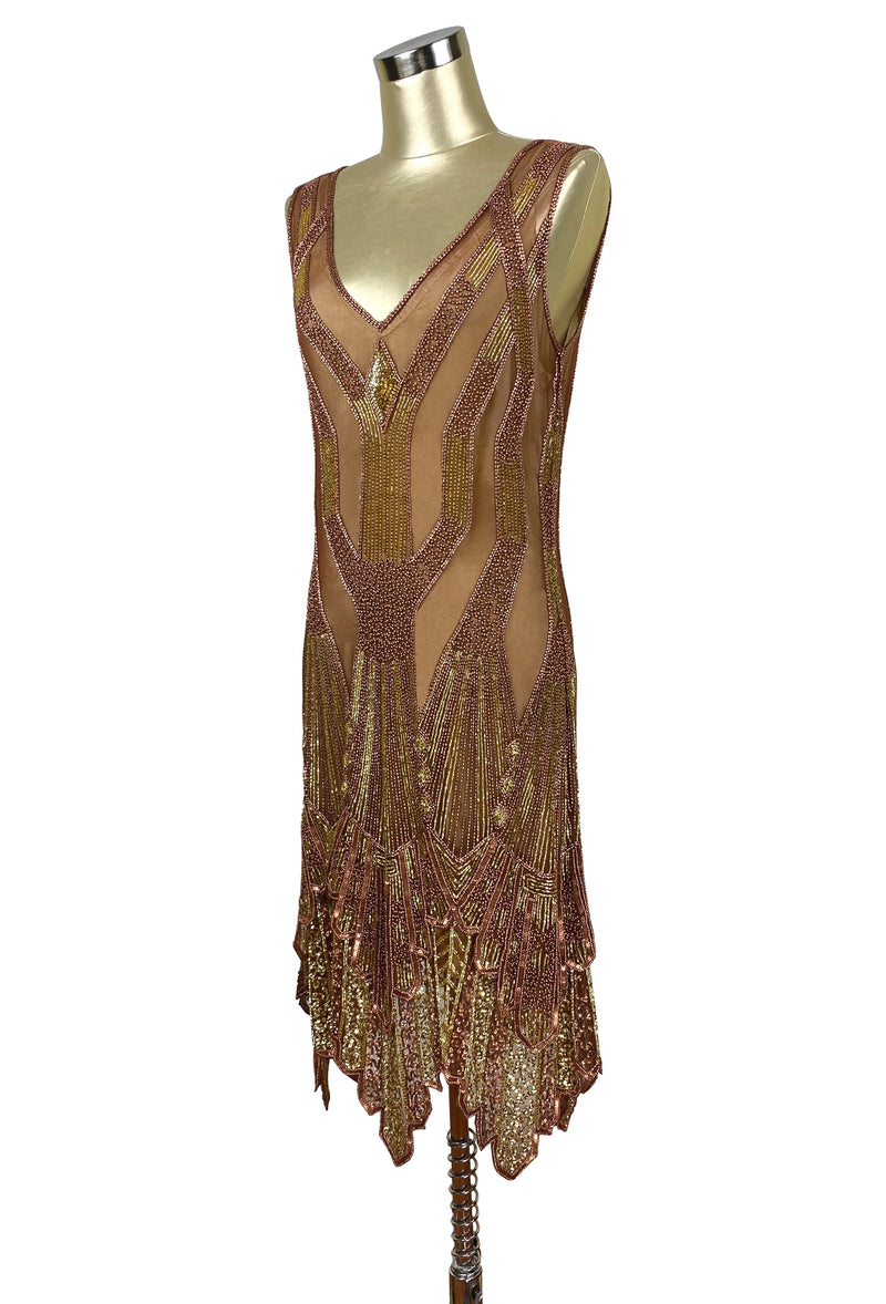 The Paris 1920's Handkerchief Art Deco Gown - Copper Gold - Special Edition - The Deco Haus