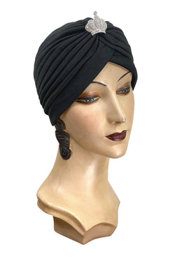 1920s Headband, Headpiece & Hair Accessory Styles THE SWANSON 1920S DECO EVENING TURBAN - BLACK CROWN $49.95 AT vintagedancer.com