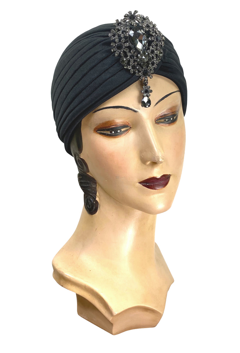 The Swanson 1920's Deco Evening Turban - Black Pewter Teardrop - The Deco Haus