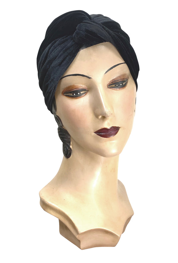 The Swanson 1920's Deco Evening Turban - Black Velvet - The Deco Haus