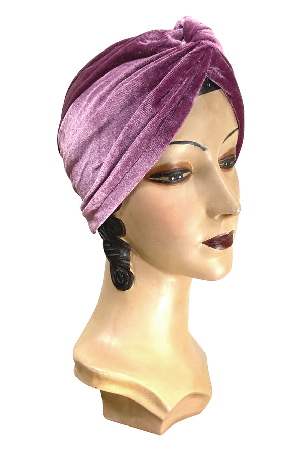 The Swanson 1920's Deco Evening Turban - Boudoir Rose Pink Velvet - The Deco Haus