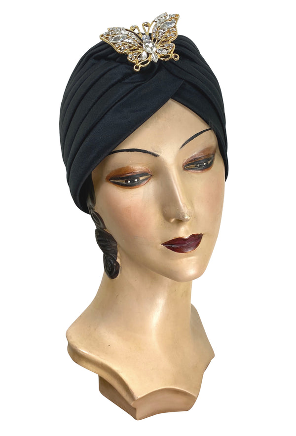 The Swanson 1920's Deco Evening Turban - Gold Vintage Butterfly - The Deco Haus