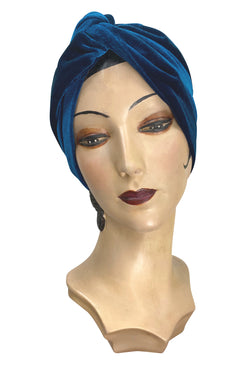 1940s Hair Snoods- Buy, Knit, Crochet or Sew a Snood THE SWANSON 1920S DECO EVENING TURBAN - PEACOCK BLUE VELVET $44.95 AT vintagedancer.com