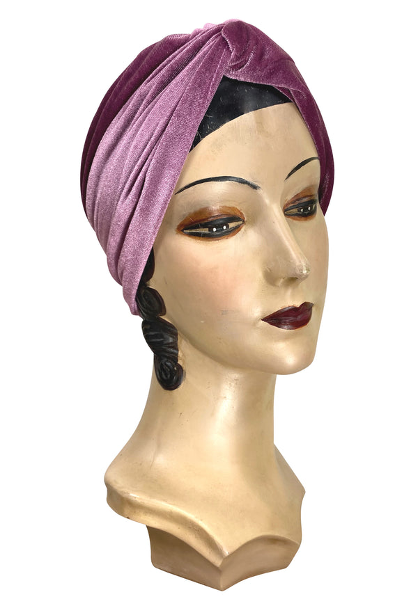 The Swanson 1920's Deco Evening Turban - Raspberry Pink Velvet