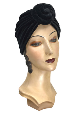 1940s Hairstyles- History of Women's Hairstyles THE SWANSON 1920S DECO KNOTTED EVENING TURBAN - BLACK VELVET $54.95 AT vintagedancer.com