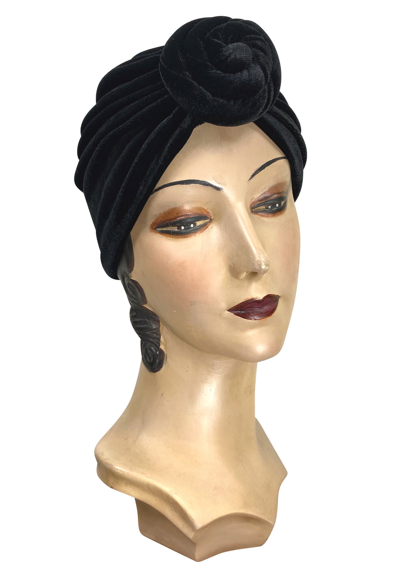 The Swanson 1920's Deco Knotted Evening Turban - Black Velvet