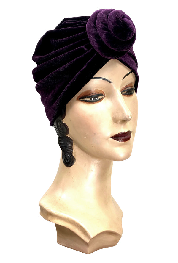 The Swanson 1920's Deco Knotted Evening Turban - Vintage Plum Velvet