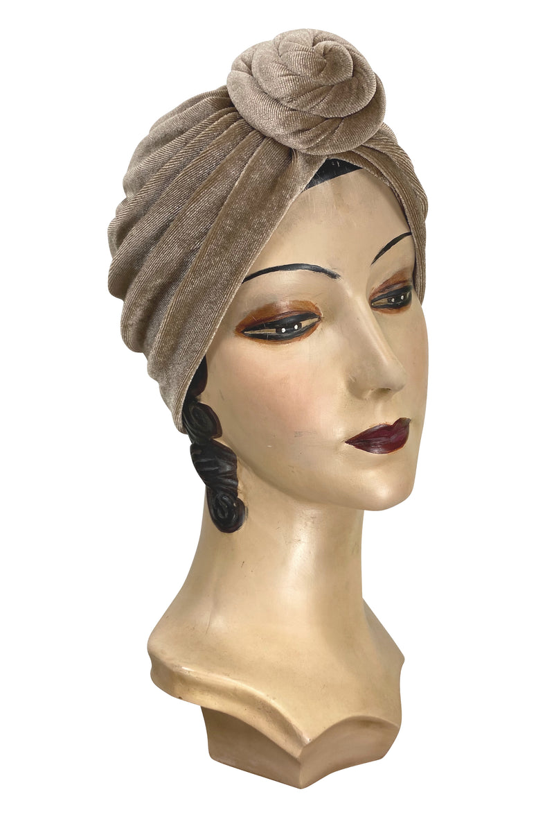 The Swanson 1920's Deco Knotted Evening Turban - Sand Velvet
