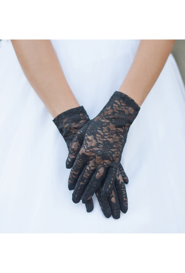 The Victorian Lace Vintage Driving Glove - Black