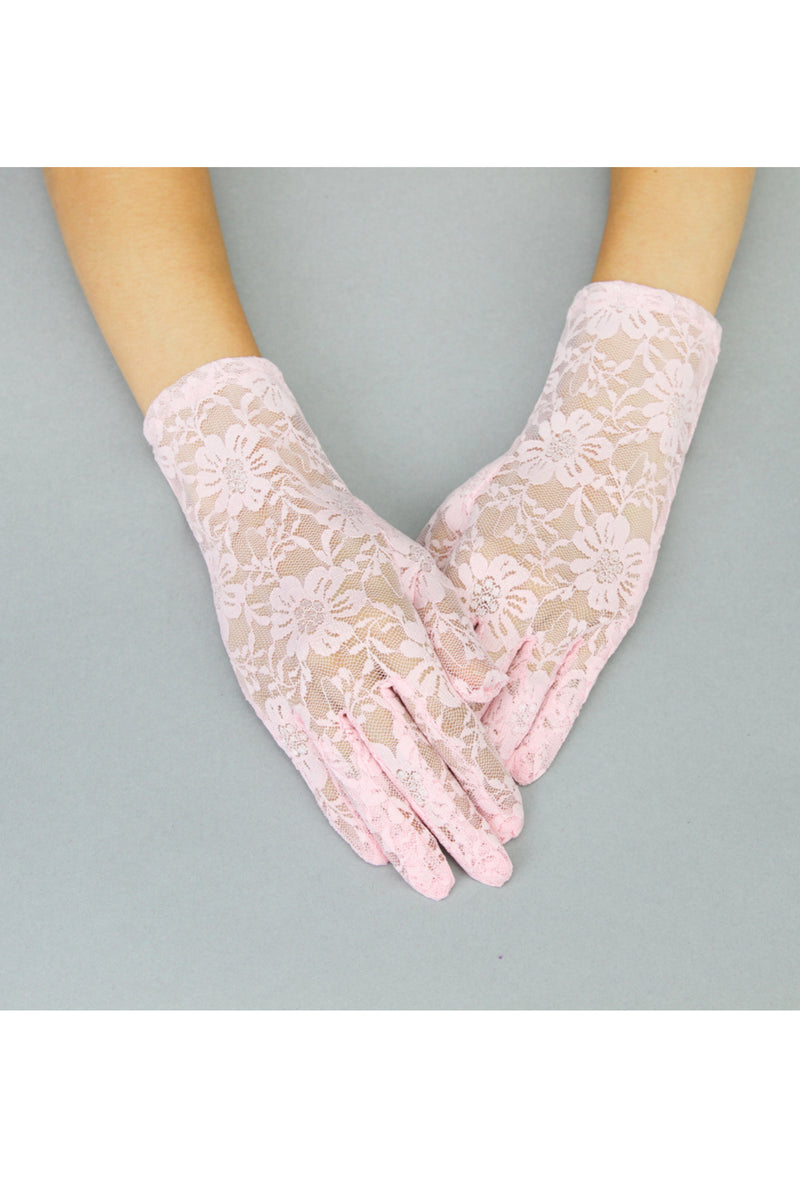 The Victorian Lace Vintage Driving Glove - Pink