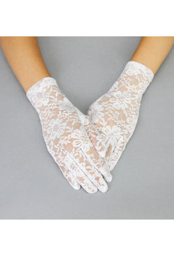 The Victorian Lace Vintage Driving Glove - White