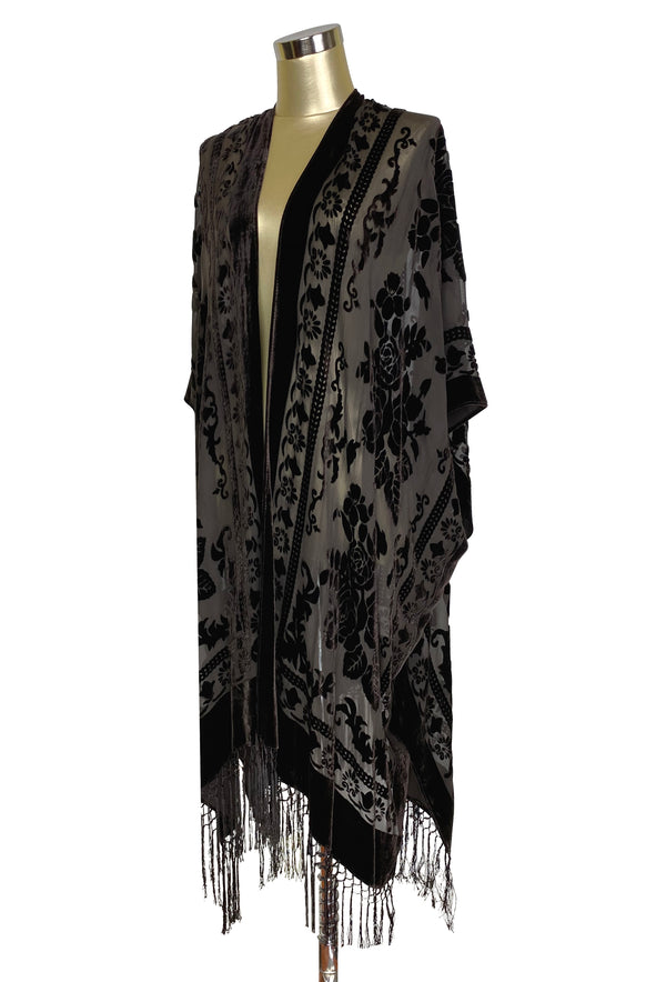 Copy of The Victorian Rose Burnout Silk Velvet Fringe 20s Evening Wrap - Mocha Brown