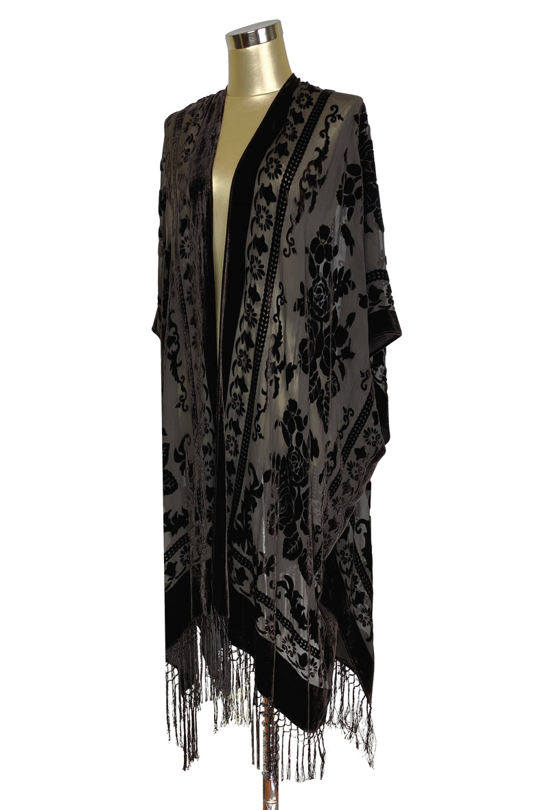 The Victorian Rose Burnout Silk Velvet Fringe 20s Evening Wrap - Mocha Brown