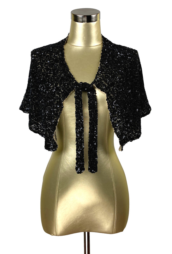 The Vintage Hollywood Luxe Cluster Tie 1930's Evening Capelet - Black Jet - The Deco Haus