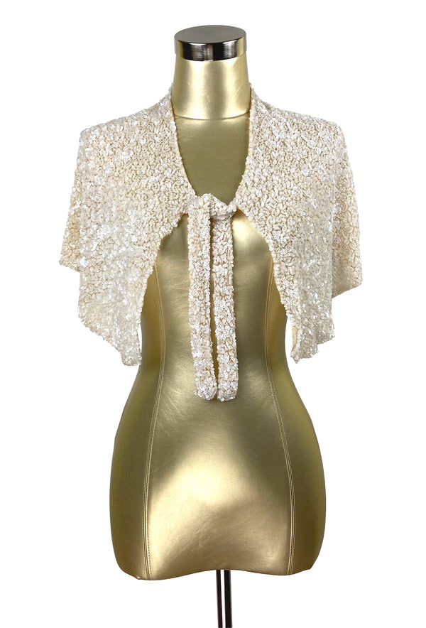 The Vintage Hollywood Luxe Cluster Tie 1930's Wedding Capelet - Mother of Pearl - The Deco Haus