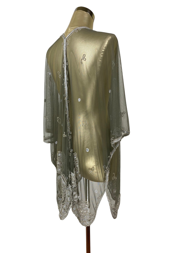 The Vintage Romance Embroidered Pearl Mesh Evening Wrap - Antique Sage - The Deco Haus