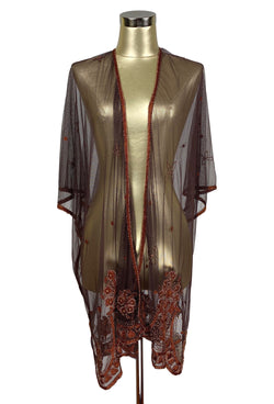 The Vintage Romance Embroidered Pearl Mesh Evening Wrap - Mocha Brown - The Deco Haus