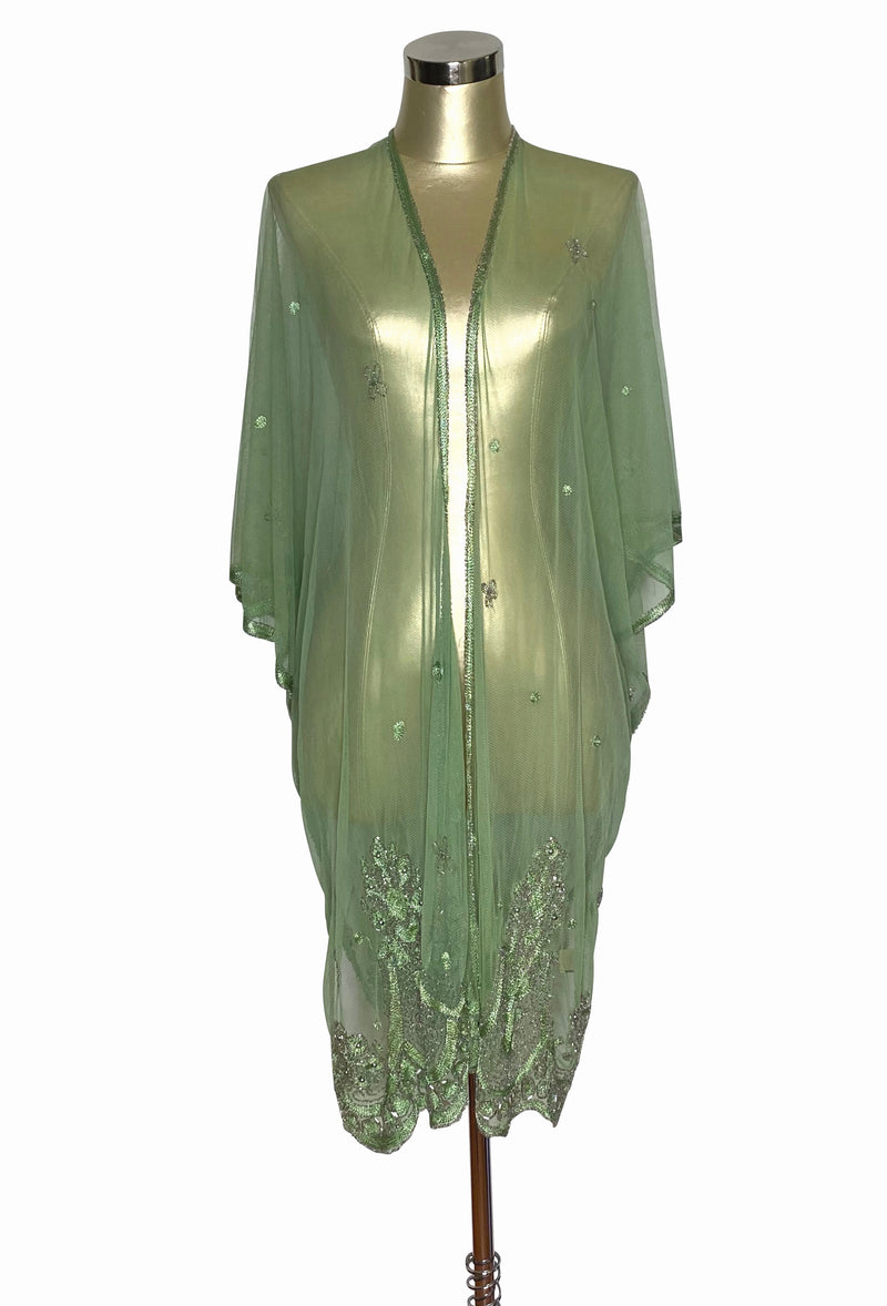 The Vintage Romance Embroidered Pearl Mesh Evening Wrap - Nile Green