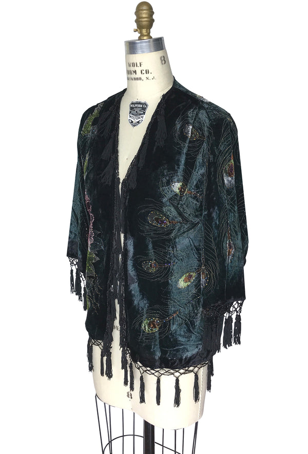 The 1920's Hand-Painted Velvet Evening Jacket - Victorian Peacock - Black - The Deco Haus