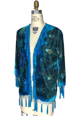 The 1920's Hand-Painted Velvet Evening Jacket - Victorian Peacock - Turquoise Blue