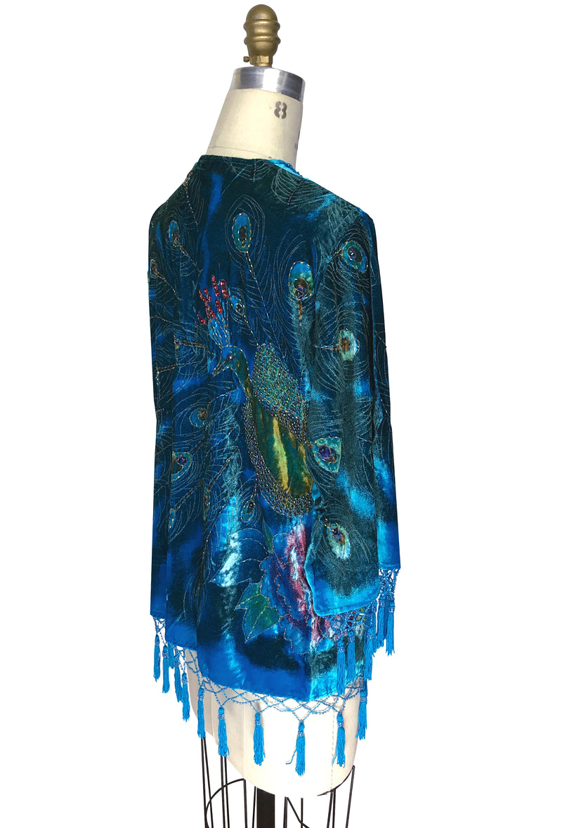 The 1920's Hand-Painted Velvet Evening Jacket - Victorian Peacock - Turquoise Blue - The Deco Haus
