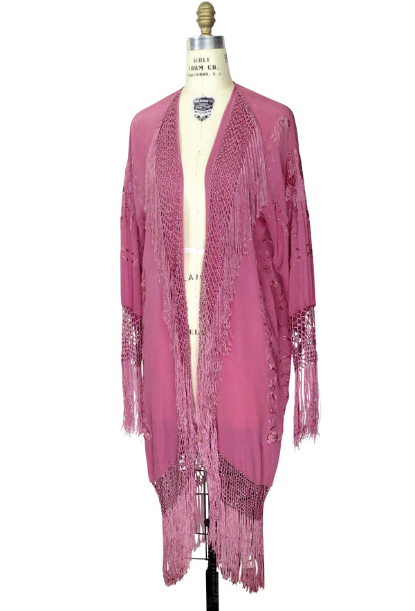 The 1920's Oriental Piano Silk Embroidered Flamenco Lounging Robe - Antique Raspberry Pink - The Deco Haus