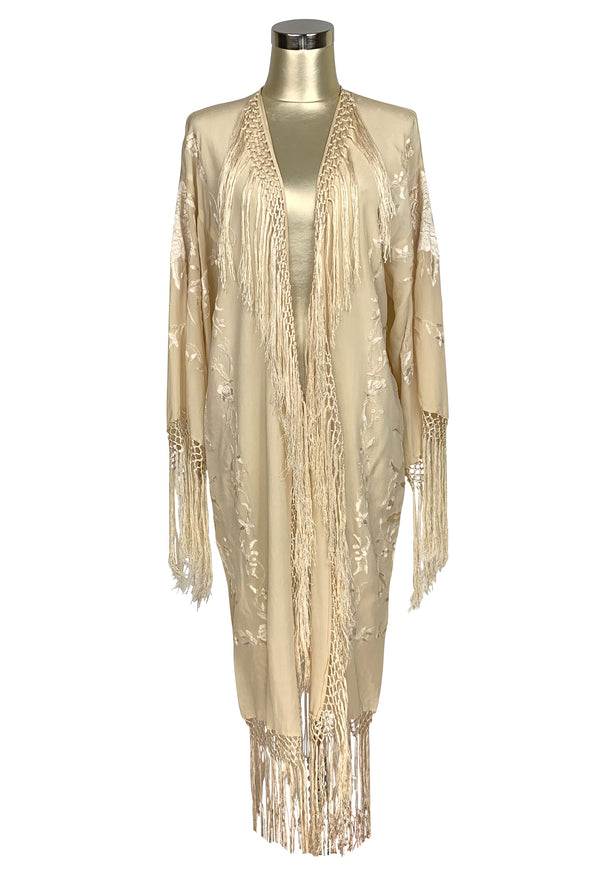 The 1920's Oriental Piano Silk Embroidered Flamenco Lounging Robe - Vanilla Creme