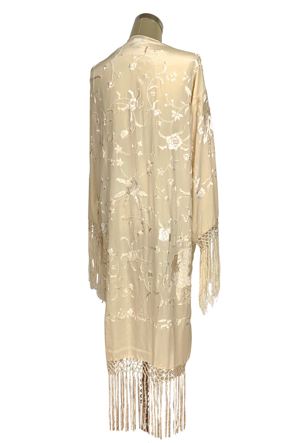 The 1920's Oriental Piano Silk Embroidered Flamenco Lounging Robe - Vanilla Creme - The Deco Haus