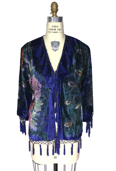 The 1920's Hand-Painted Velvet Evening Jacket - Victorian Peacock - Royal Purple