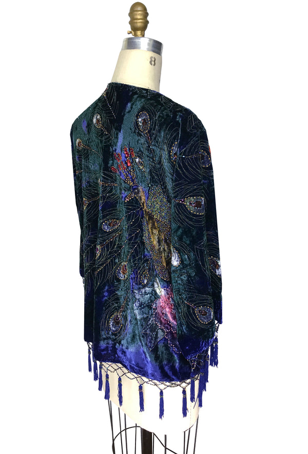 The 1920's Hand-Painted Velvet Evening Jacket - Victorian Peacock - Royal Purple - The Deco Haus