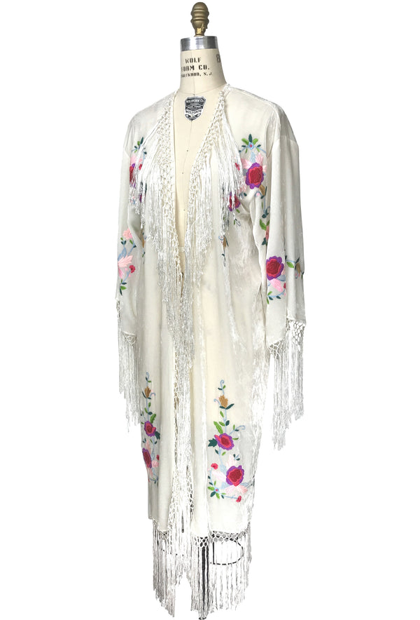 The 1920's Velvet Embroidered Macrame Fringe Piano Shawl Jacket - White