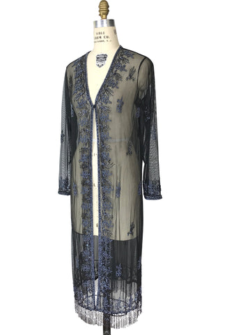 The 1920s Art Deco Flapper Hand Beaded Duster Jacket - Black Iridescent - The Deco Haus