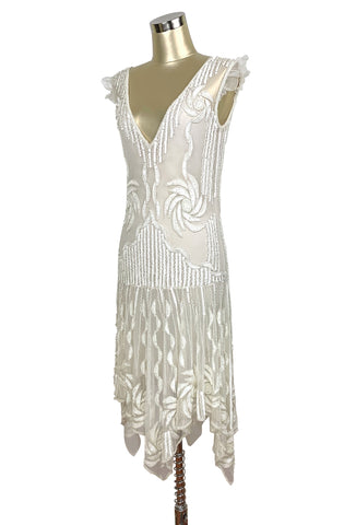 The 1920s Hollywood Regency Handkerchief Vintage Gown - White Crystal - The Deco Haus