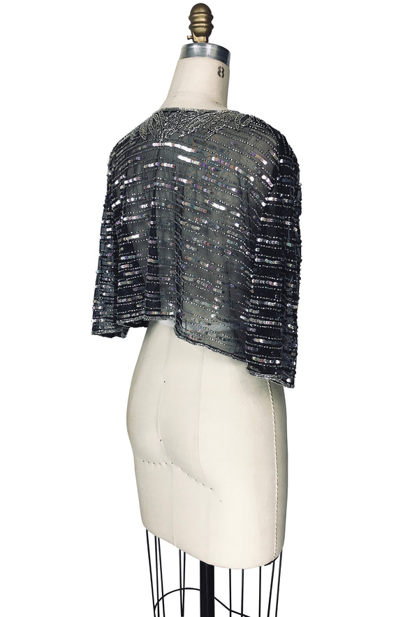 The 1930's Mesh Hand Beaded Glamour Lamarr Overlay Top - Black Silver - The Deco Haus