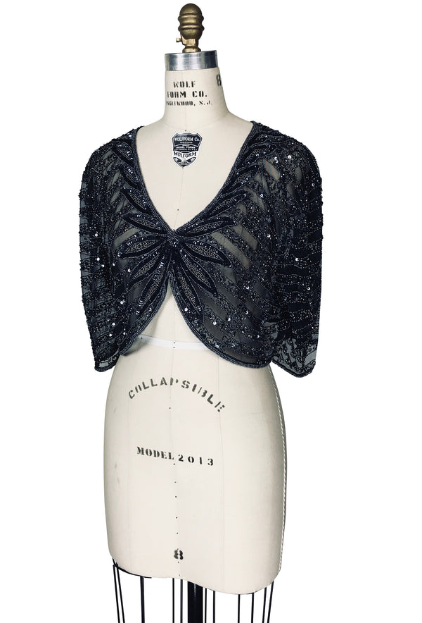 The 1930's Mesh Hand Beaded Glamour Lamarr Overlay Top - Black Pewter - The Deco Haus