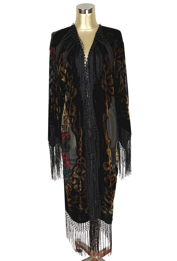 The 1930's Silk Velvet Art Deco Scarf Coat - Black Dragon - The Deco Haus